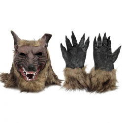 12PCS-Latex-Rubber-Wolf-Head-Hair-Mask-Werewolf-Gloves-Party-Scary-Halloween-Cosplay-1086799