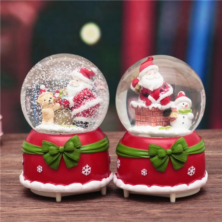 18CM Christmas Globe Santa Music Box Snowing Bow-knot Rotating Crystal Ball Decor Gift