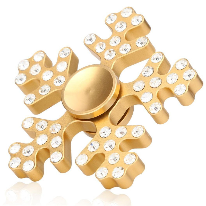 Aluminum-Alloy-Five-Leaves-Snowflake-Shape-Rotating-Fidget-Hand-Spinner-Reduce-Stress-Toys-1166019